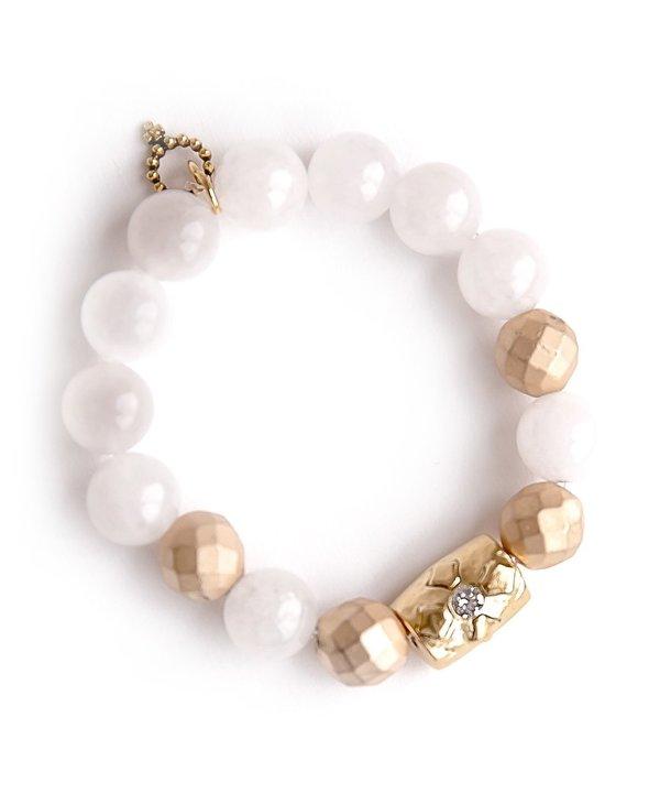 Gold Barrel Cross Bracelet in White Jade
