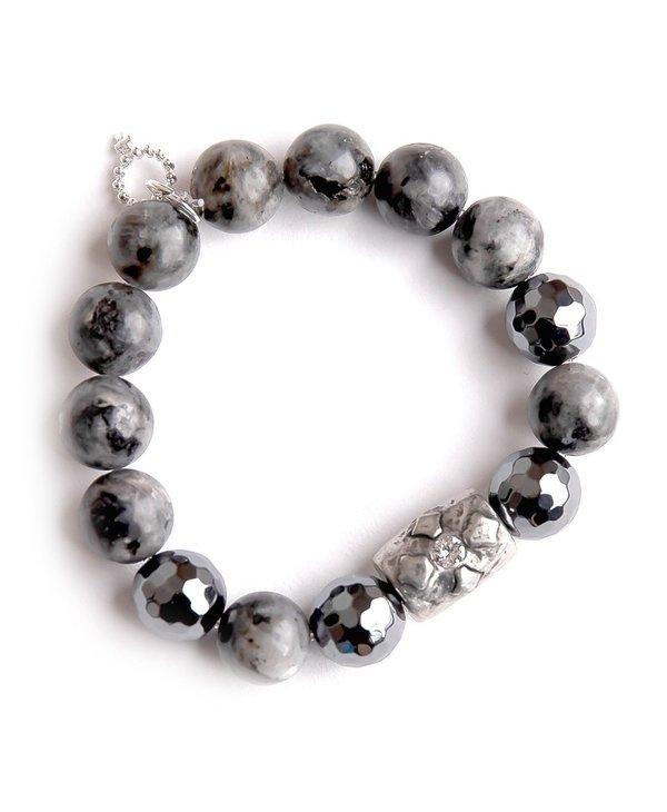 Silver Barrel Cross Bracelet in Charcoal Grey Jasper