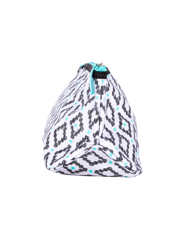 Tight Lipped Makeup Bag in Teal Diamond