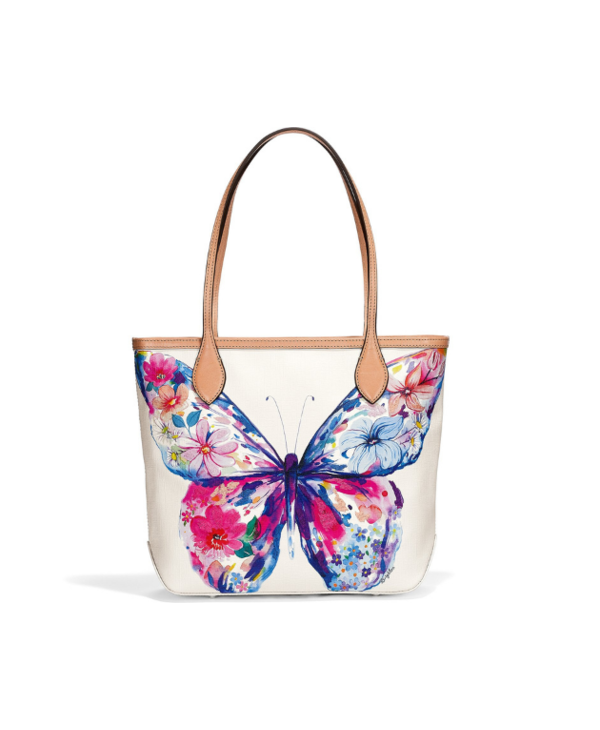 Marcy Embroidered Butterfly Tote