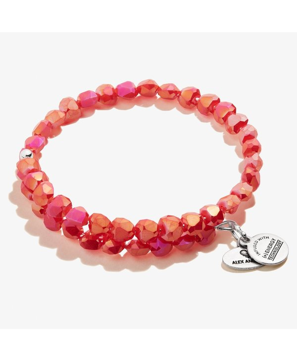 Happiness Beaded Wrap Bracelet in Berry Red