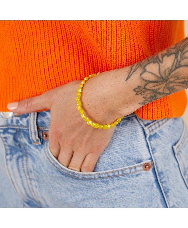 Happiness Beaded Wrap Bracelet in Lemon