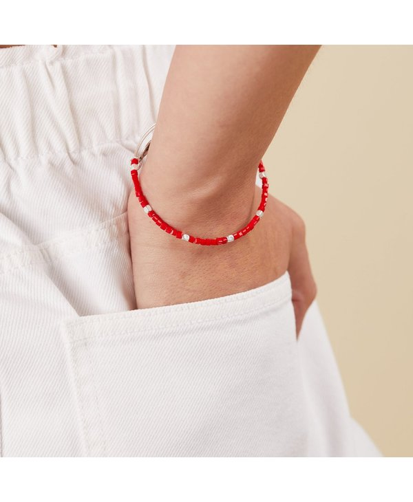 Gaiety Beaded Bangle in Berry Red