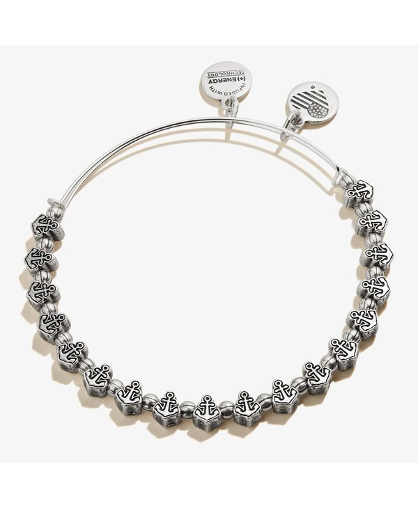 Anchor Beaded Bangle in Silver