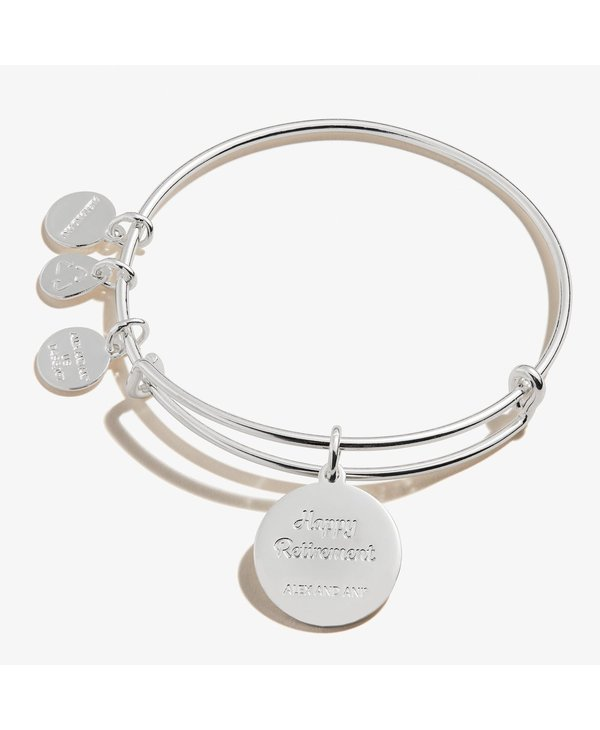 """""""Happy Retirement"""" Charm Bangle in Silver"""