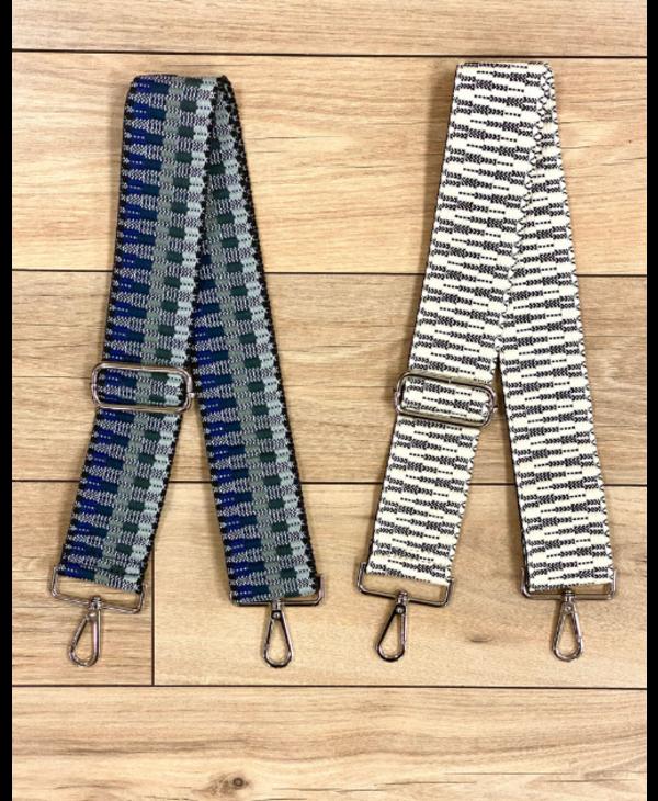 Embroidered Bag Strap - Silver Hardware