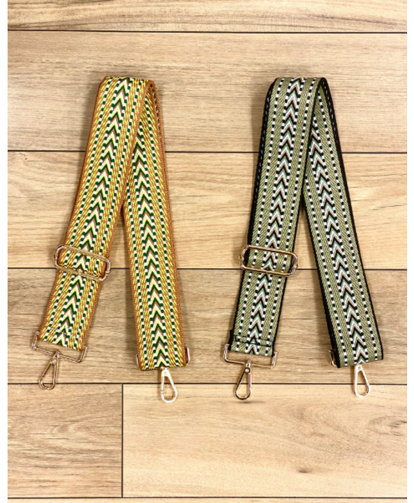 Embroidered Woven Bag Strap - Gold Hardware