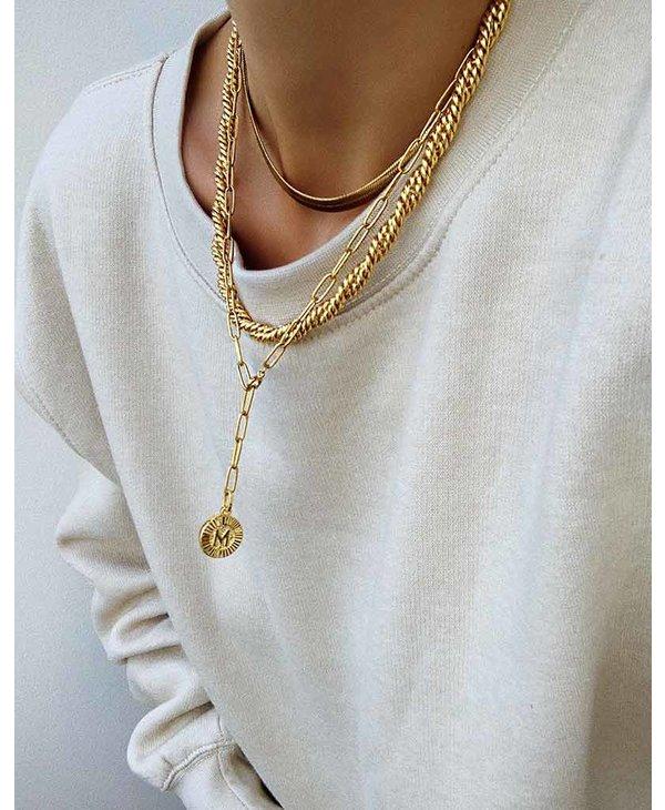 Initial Medallion Lariat Necklace