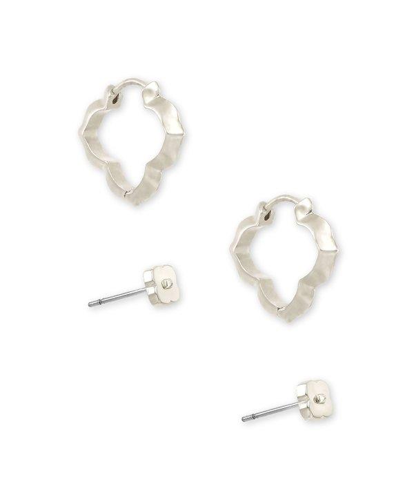 Abbie Stud & Huggie Earrings Set In Silver