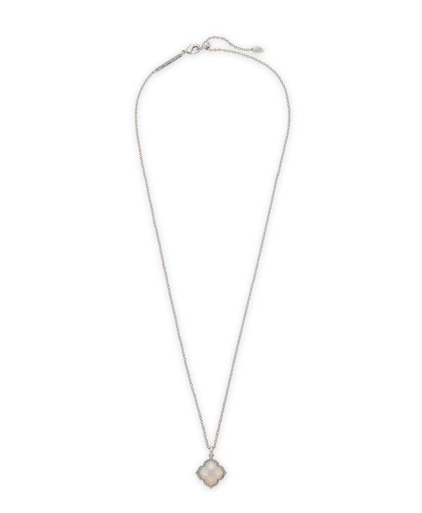 Mallory Silver Pendant Necklace In Gray Banded Agate