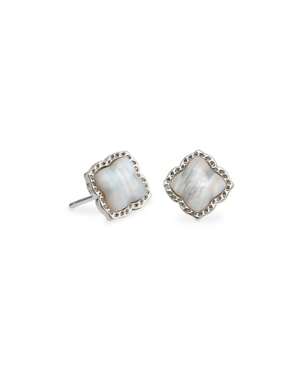 Mallory Silver Stud Earrings In Gray Banded Agate