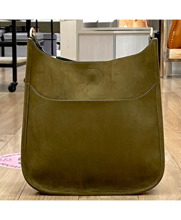 Army Green Suede Messenger Bag - Gold Hardware