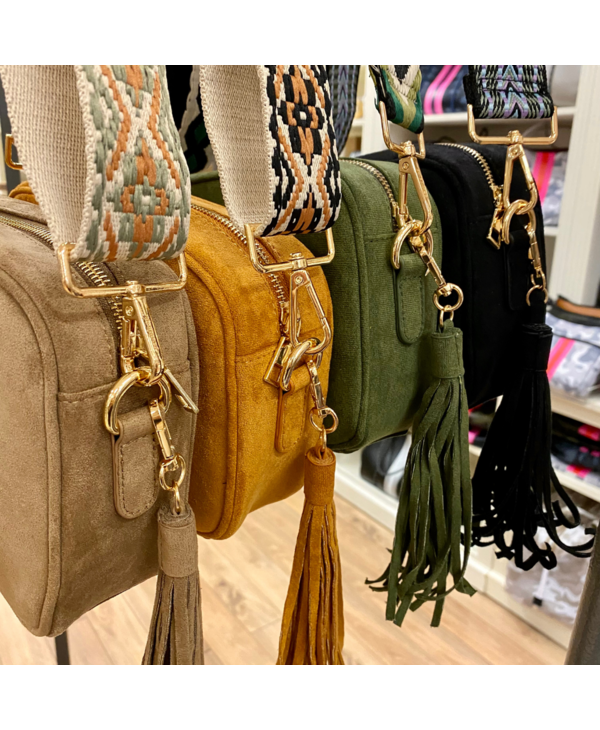 Suede Tassel Bag in Army Green - Gold Hardware