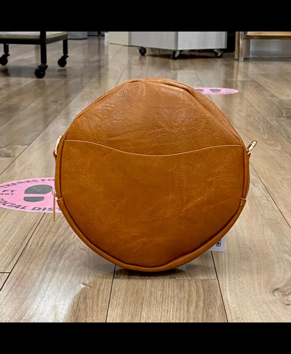 Camel Large Round Vegan Leather Crossbody - Gold Hardware