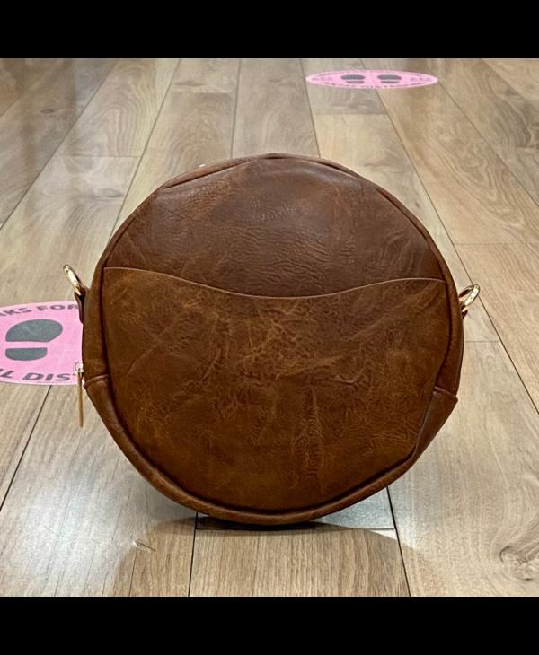 Coffee Large Round Vegan Leather Crossbody - Gold Hardware