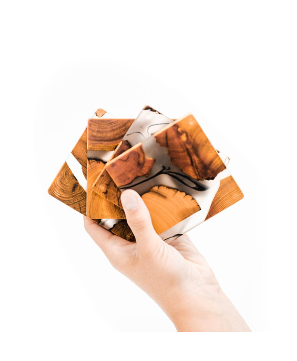 Cedar & Resin Coasters (Set of 4)