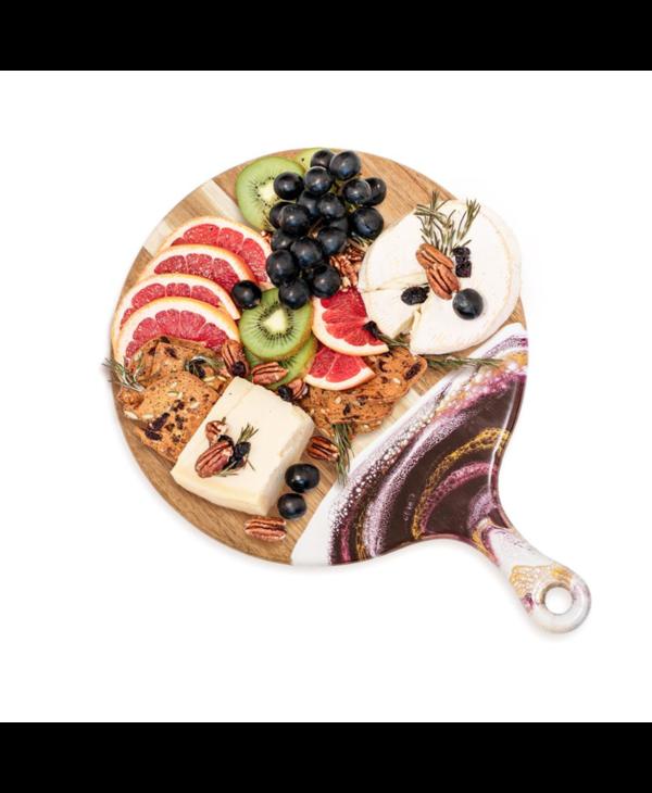 Round Acacia Cheese Paddle in Raspberry & White