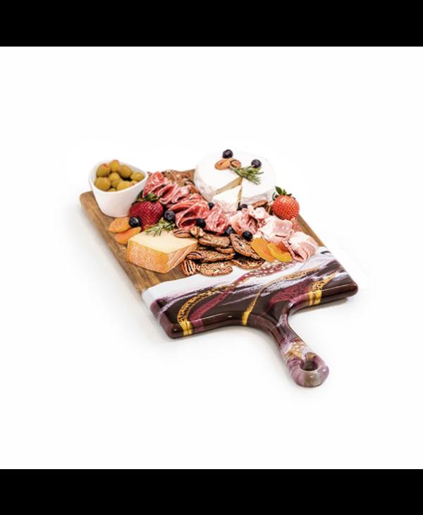 Large Acacia Cheese Board in Raspberry & White