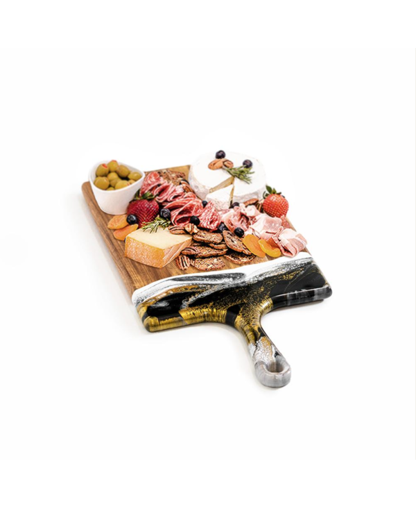 Large Acacia Cheese Board in Black & Gold