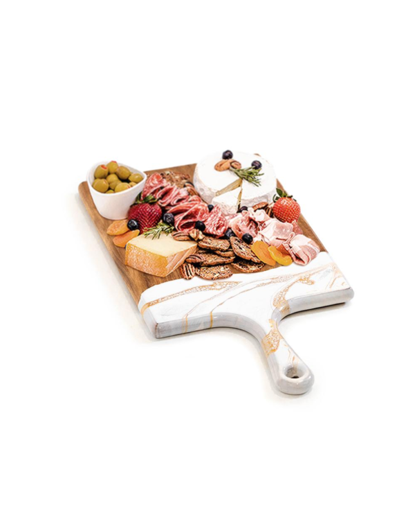 Large Acacia Cheese Board in White & Gold