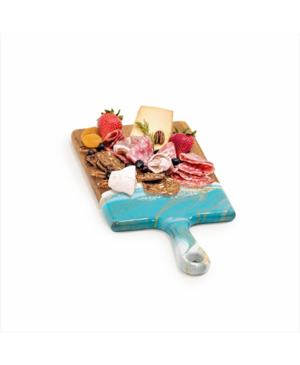 Small Acacia Cheese Board in Teal & White