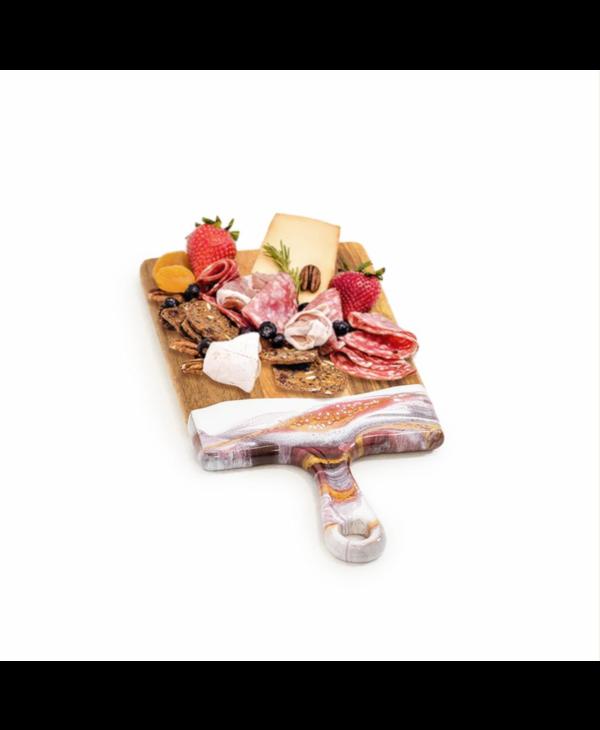 Small Acacia Cheese Board in Raspberry & White
