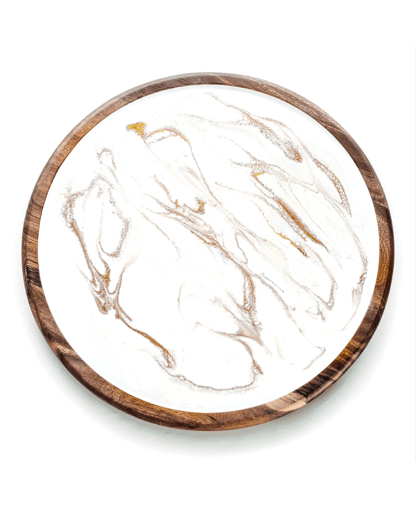 Acacia Lazy Susan in White & Gold