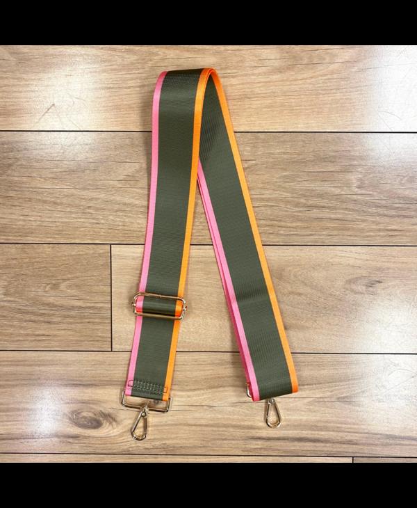 Olive Green, Pink & Orange Stripe Bag Strap - Gold Hardware