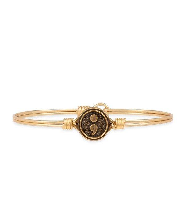 Semicolon Bangle Bracelet in Gold
