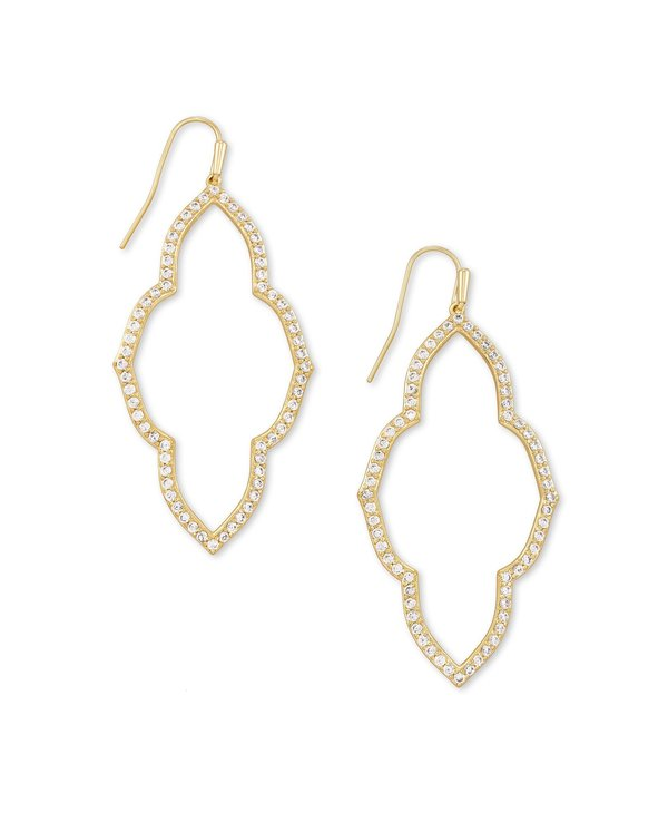 Abbie Open Frame Earrings In White Crystal & Gold