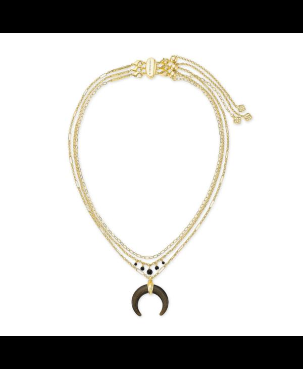 Gemma Triple Strand Necklace In Golden Obsidian & Gold