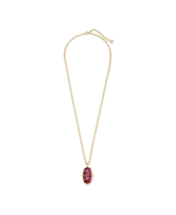 Baroque Ella Long Pendant Necklace In Mauve Abalone & Gold
