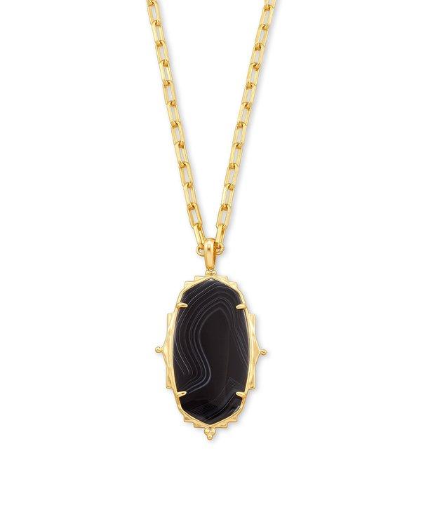 Baroque Ella Long Pendant Necklace In Black Banded Agate & Gold