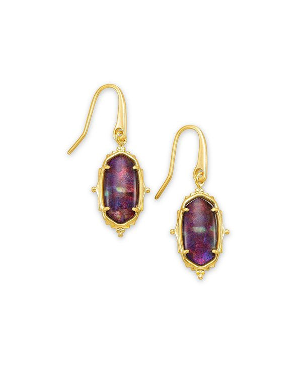 Baroque Lee Drop Earring in Mauve Abalone & Gold