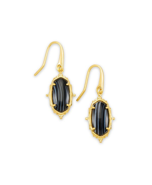 Baroque Lee Drop Earring in Black Banded Agate & Gold