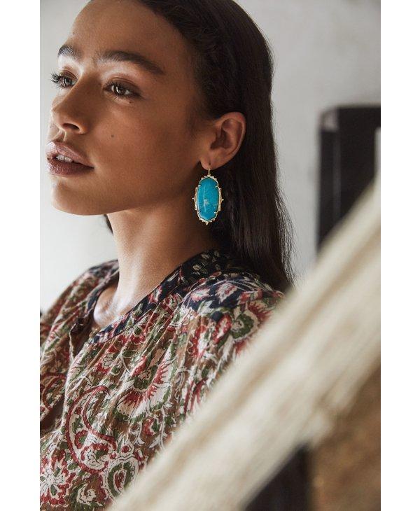 Baroque Ella Drop Earrings In Teal Howlite & Gold