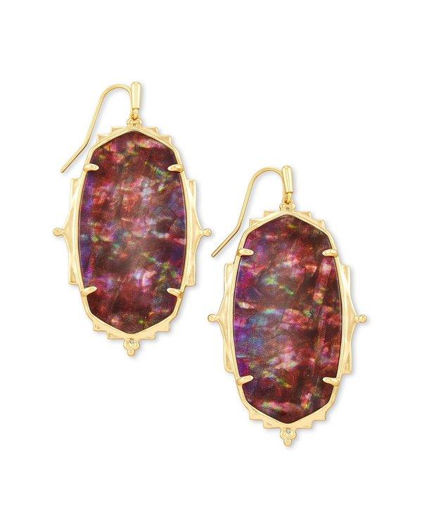 Baroque Ella Drop Earrings In Mauve Abalone & Gold