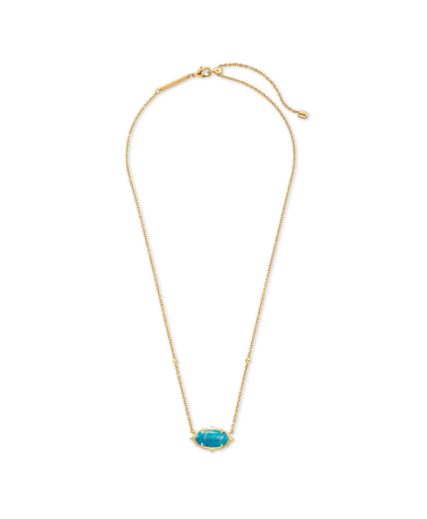 Baroque Elisa Pendant Necklace in Teal Howlite & Gold
