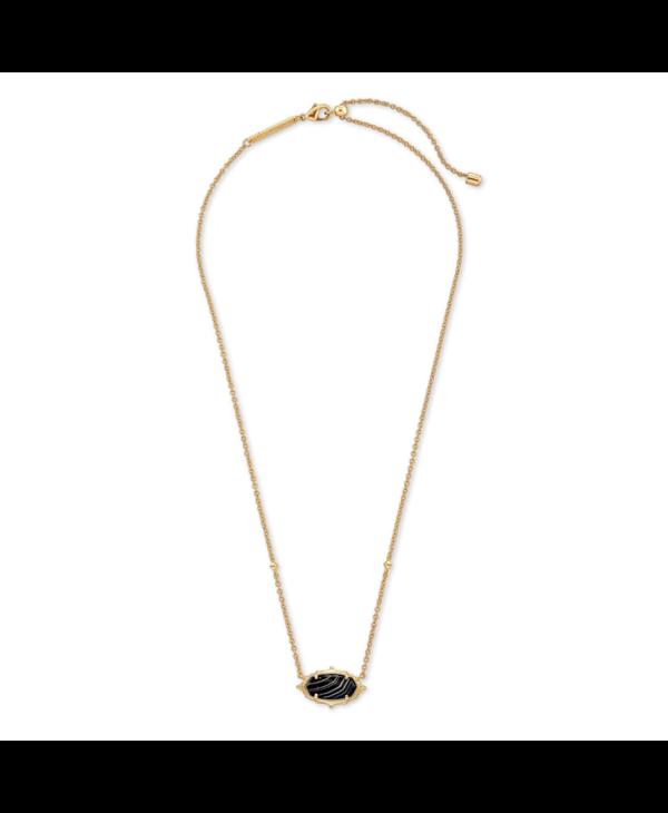 Baroque Elisa Pendant Necklace in Black Banded Agate & Gold