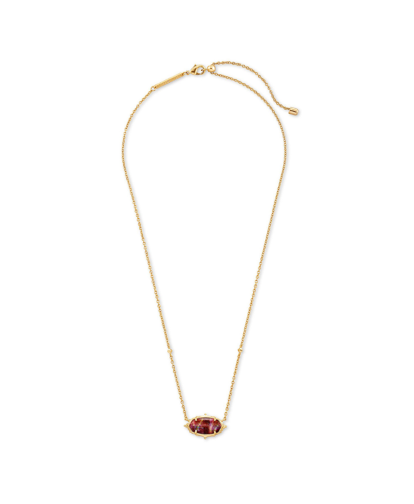 Baroque Elisa Pendant Necklace in Mauve Abalone & Gold