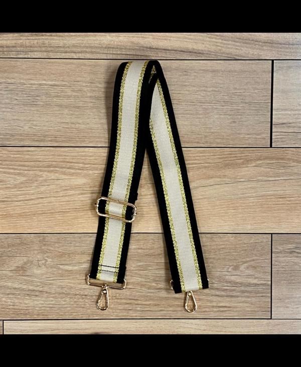 Cotton Lurex Bag Strap in Black/Gold/Khaki - Gold Hardware