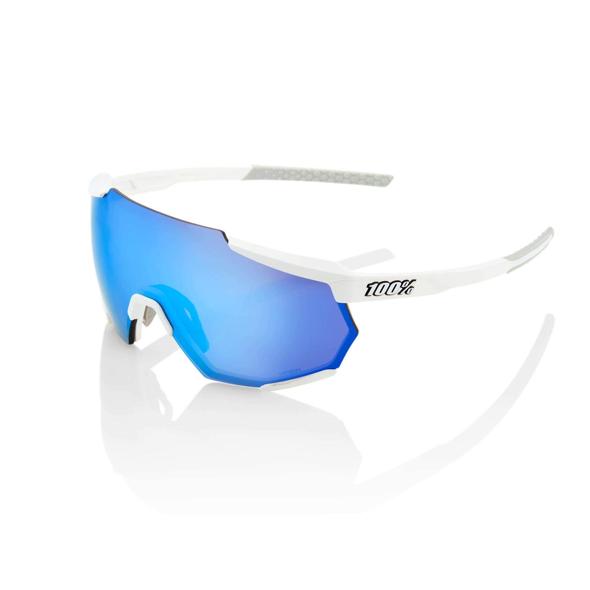 Racetrap Matte White Hiper Blue Multilayer Mirror Lens-1