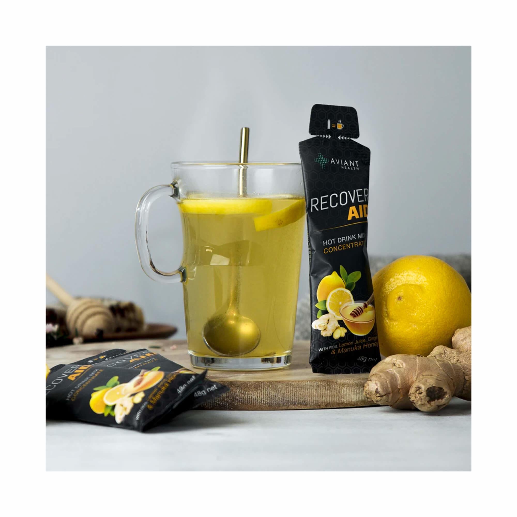 Aviant Recover Aid - Manuka Honey, Lemon & Ginger Drink Mix 48g  Single-2