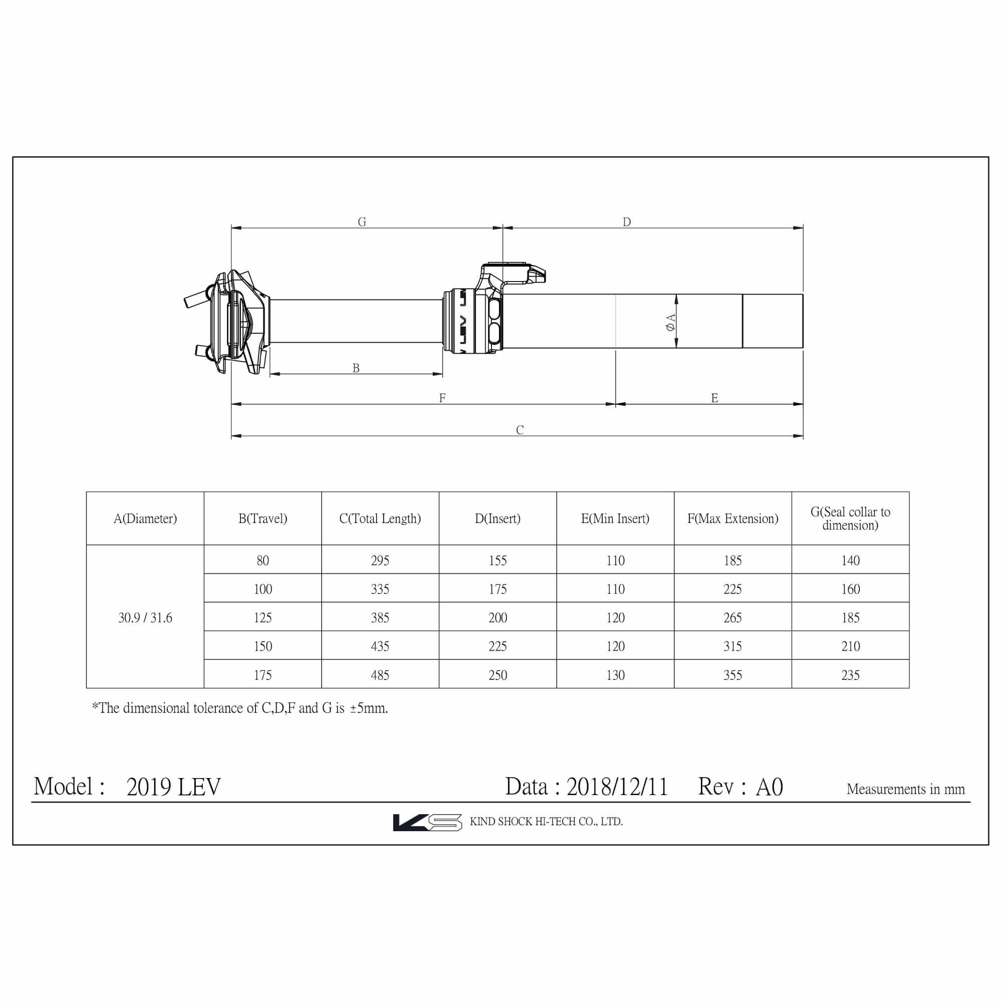 LEV Dropper 27.2mm 65mm/ 370 Black (No Remote)-2