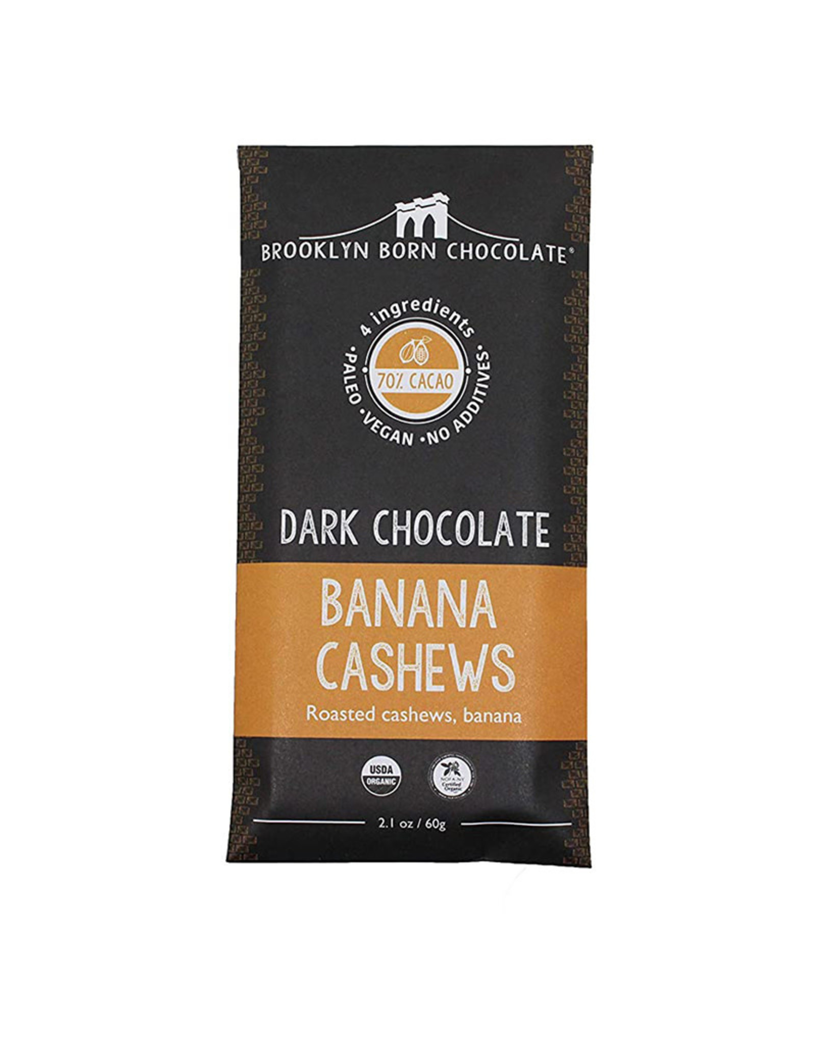 Brooklyn Born Chocolate Brooklyn - Paleo Chocolate Bar, Dark ChocBanana Cashew (60g)