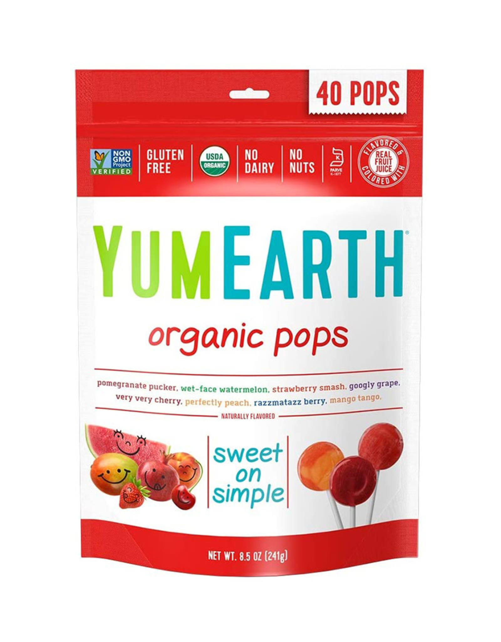 Yum Earth Yum Earth - Candy, Organic Fruit Pops (Bag)