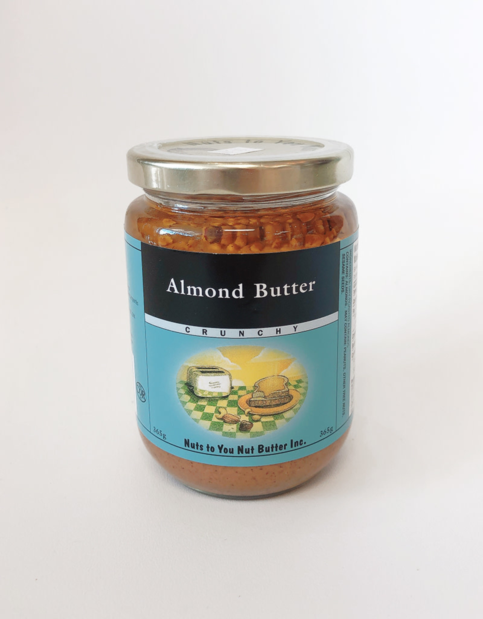 Nuts To You NTY - Natural Almond Butter, Crunchy (365g)