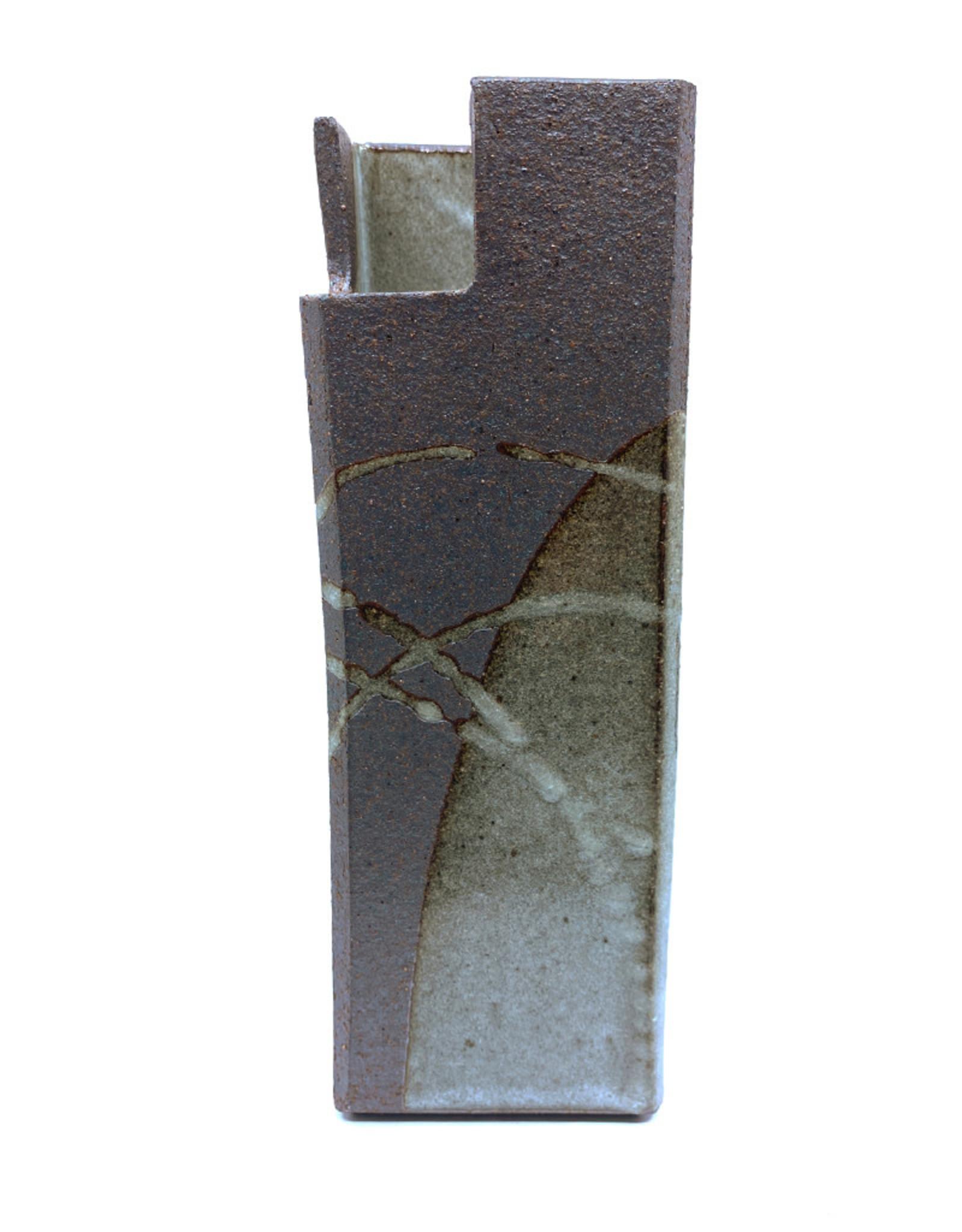 ARAKAWA POTTERY SMALL GREY CYLINDER VASE