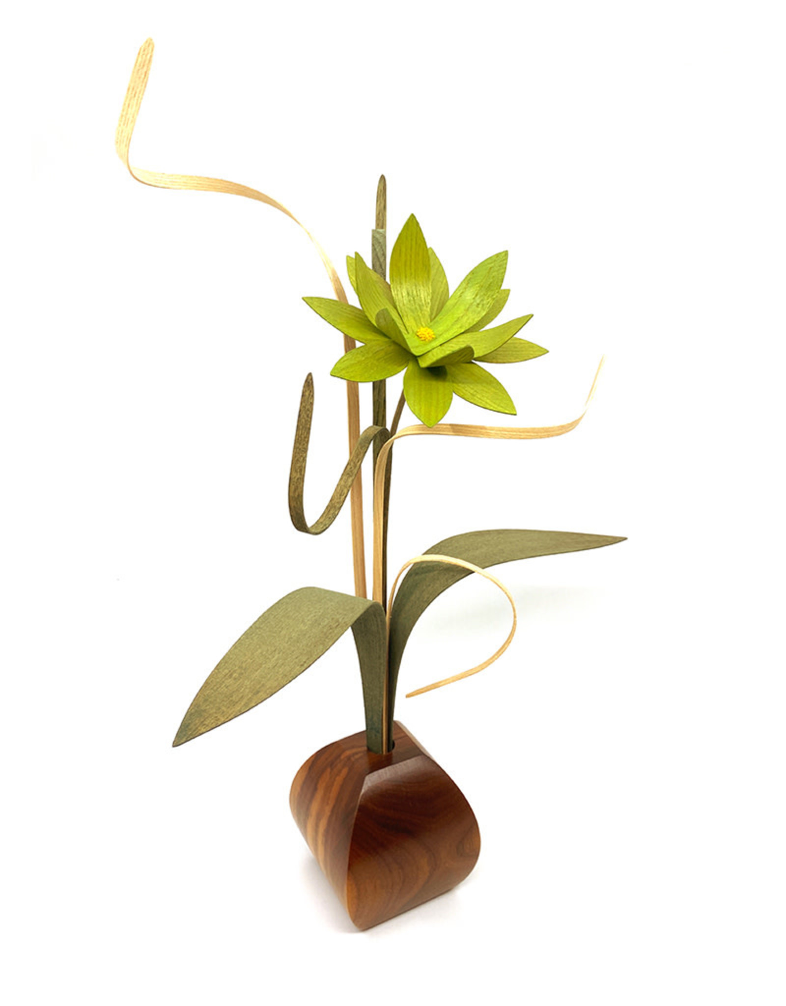 WOOD WILDFLOWERS EXPRESSIONS WOOD FLOWER ARRANGEMENT WITH 1 GREEN LOTUS