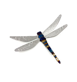 "RUNNING ROCK ART 9"" STEEL DRAGONFLY WALL ACCENT"